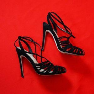 ASOS Black Multi Strap Heeled Sandals